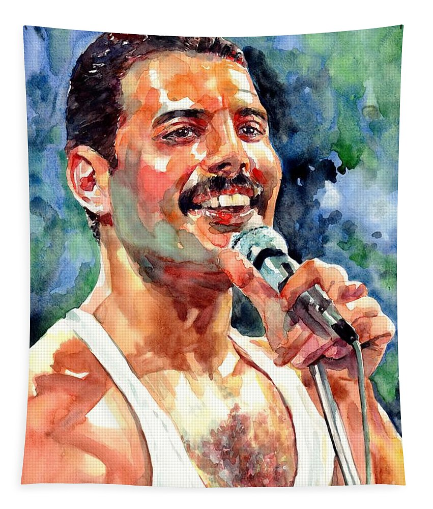Freddie Tapestry featuring the painting Freddy Mercury Portrait by Suzann Sines