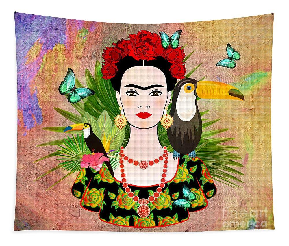 Friday Kahlua Tapestry featuring the digital art Frida Kahlo tropical by Mark Ashkenazi