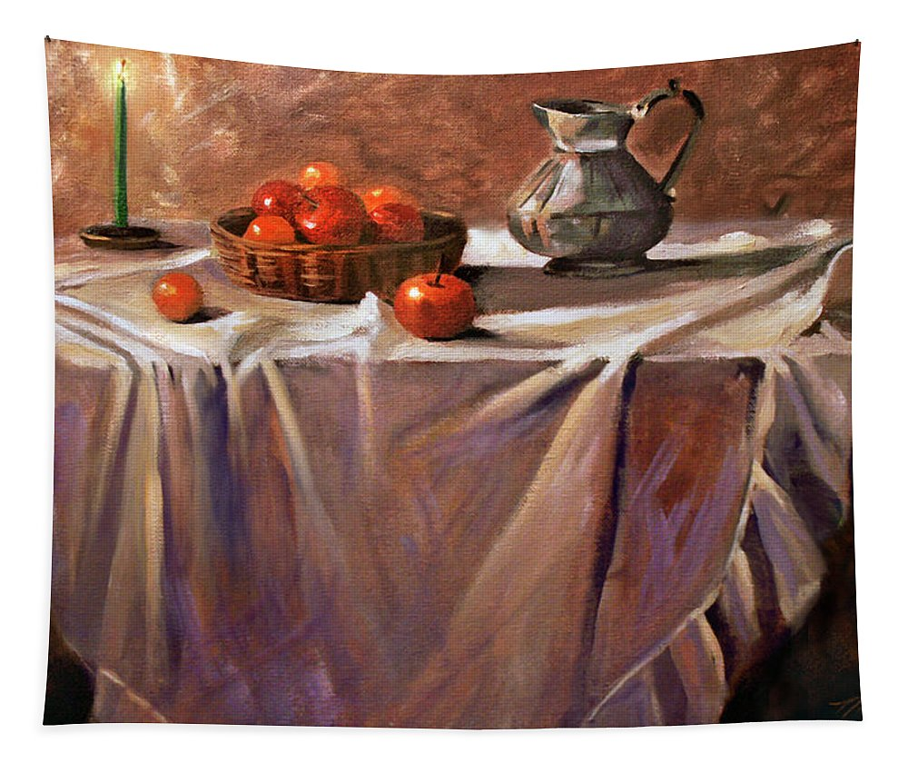 Still Life Tapestry featuring the painting Fruit by Candle Light by Nancy Griswold