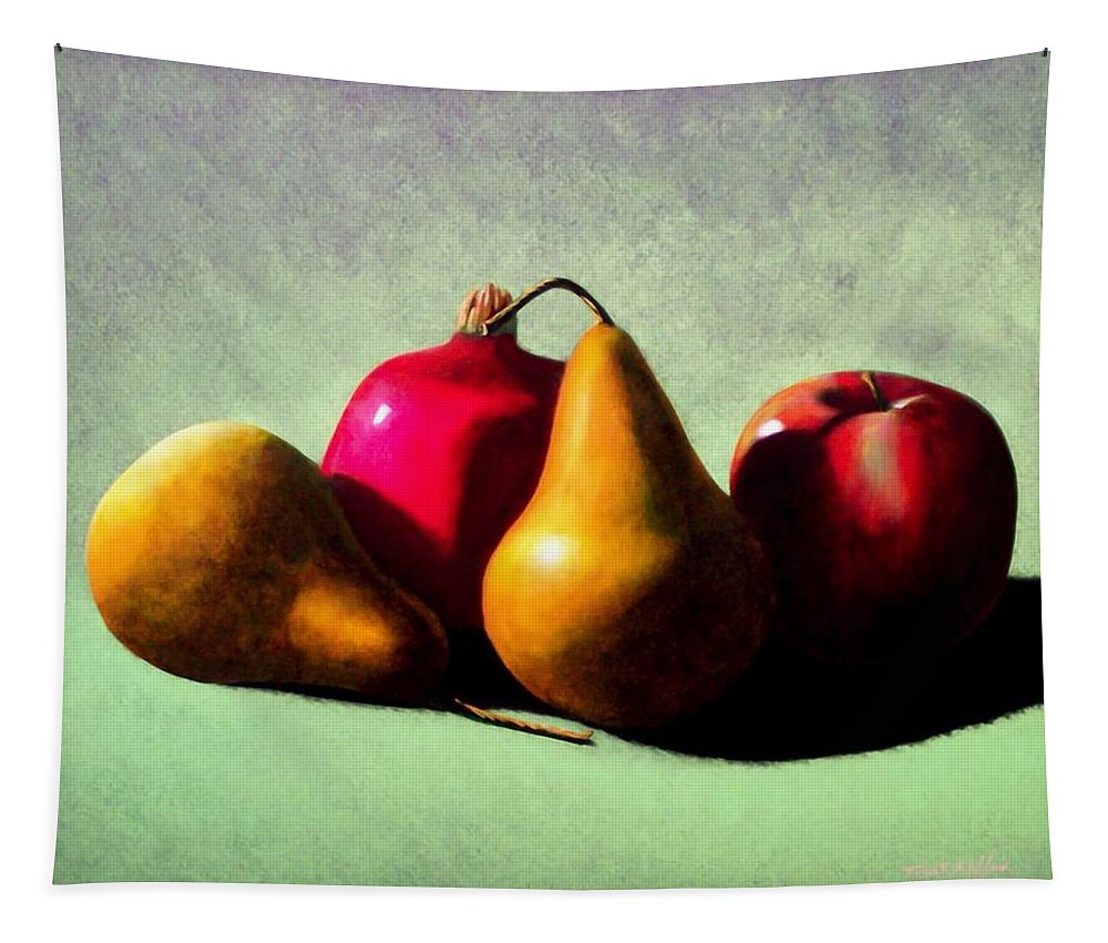 Still Life Tapestry featuring the painting Fruit Harvest by Frank Wilson