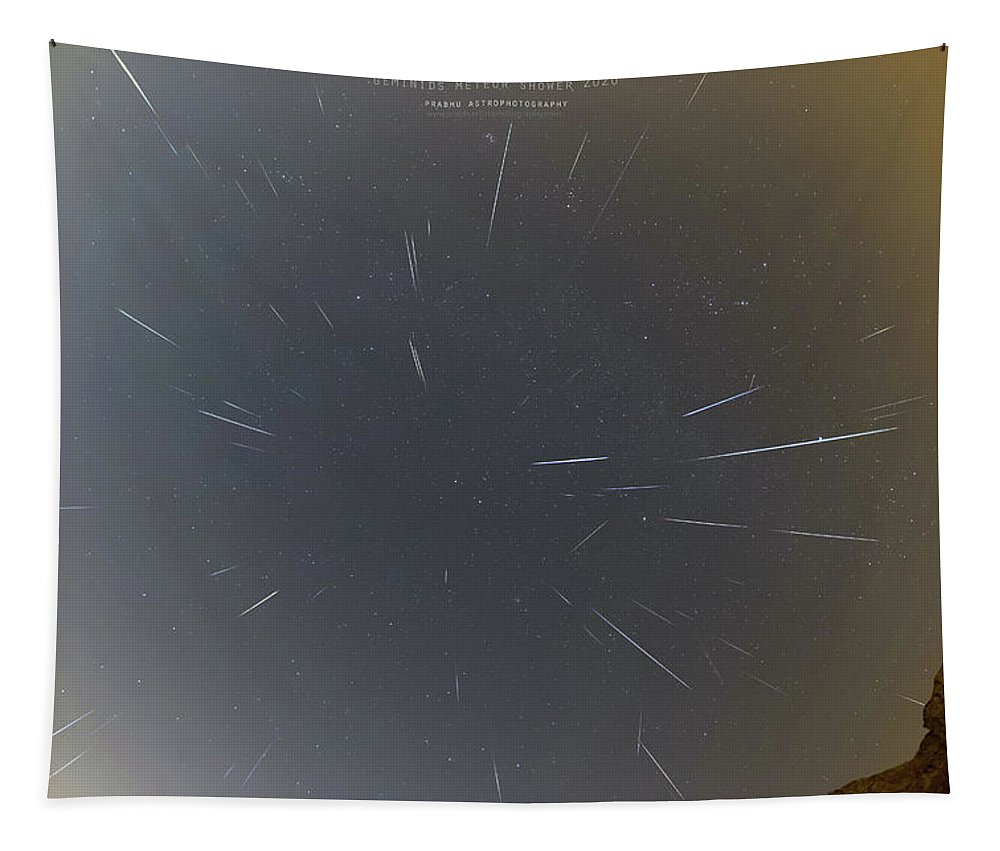 Tapestry featuring the photograph Geminids Meteor Shower 2020 by Prabhu Astrophotography
