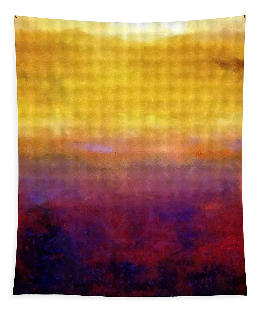 Abstract Tapestry featuring the painting Golden Sunset by Michelle Calkins