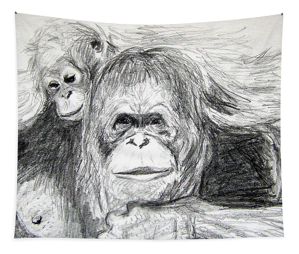 Wildlife Tapestry featuring the drawing Gorillas by Vallee Johnson