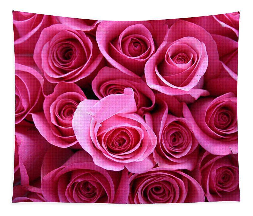Pink Roses Tapestry featuring the photograph Grandma Roses by Linda Sannuti