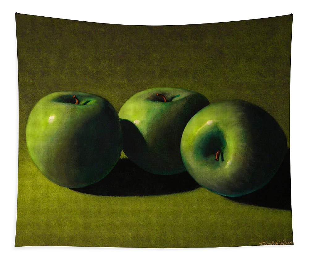 Still Life Tapestry featuring the painting Green Apples by Frank Wilson
