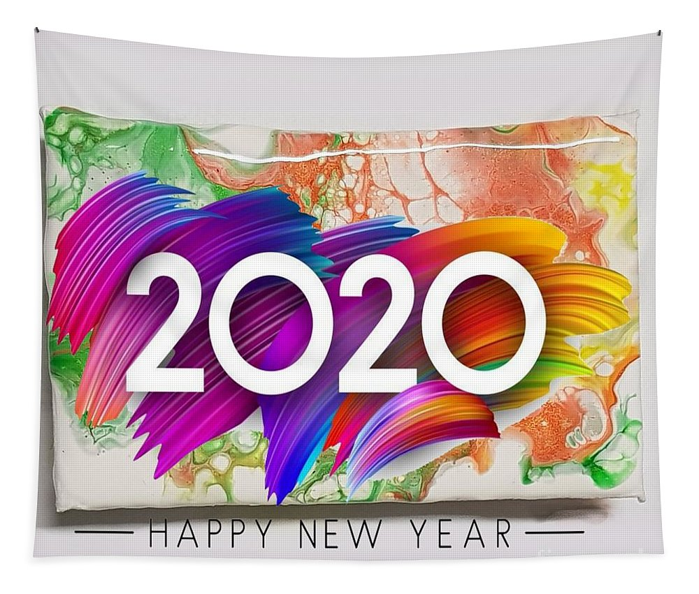 Happynewyear Tapestry featuring the mixed media Happy New Year by Paola Baroni