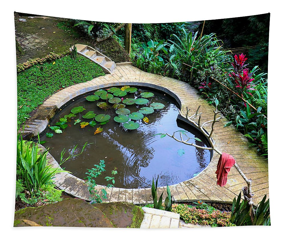 Heart Tapestry featuring the digital art Heart-shaped pond with water lilies by Worldvibes1