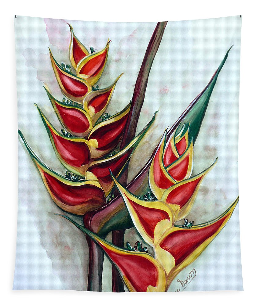 Caribbean Painting Flower Painting Floral Painting Heliconia Painting Original Watercolor Painting Of Heliconia Bloom  Trinidad And Tobago Painting Botanical Painting Tapestry featuring the painting Heliconia Tropicana Trinidad by Karin Dawn Kelshall- Best