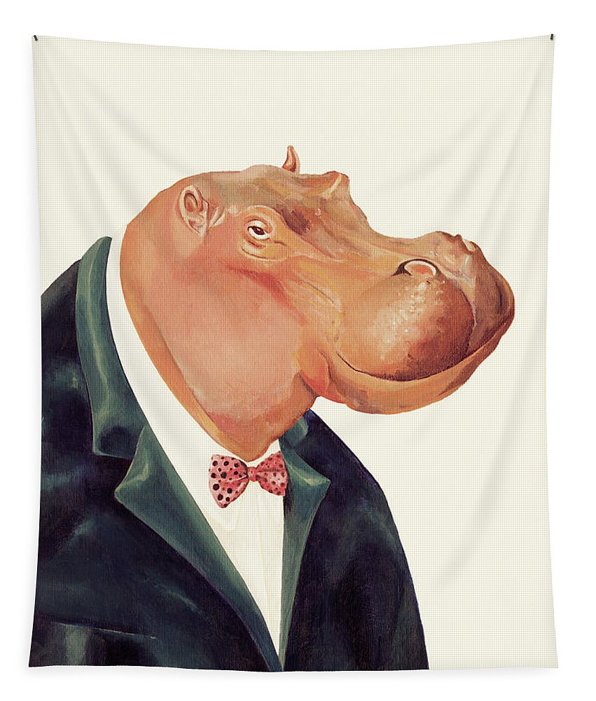 Tapestry featuring the painting Hippopotamus by Animal Crew