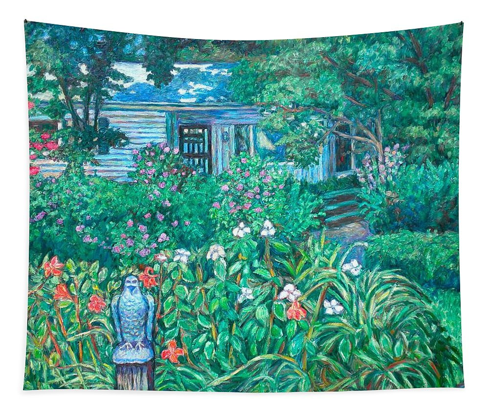 Landscape Tapestry featuring the painting House on Chesterbrook Road in McLean by Kendall Kessler