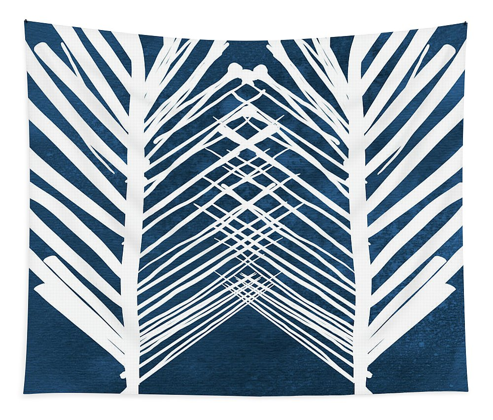 Leaves Tapestry featuring the painting Indigo and White Leaves- Abstract Art by Linda Woods