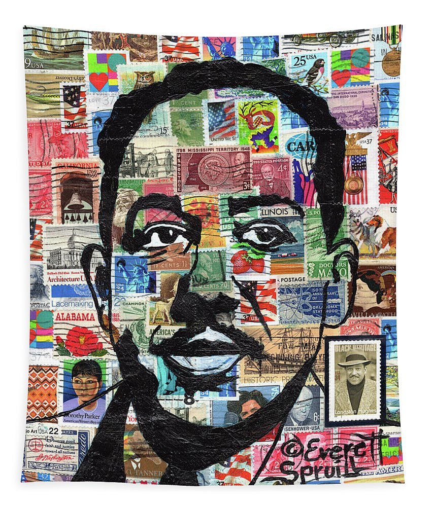 African Mask Tapestry featuring the mixed media James Mercer Langston Hughes by Everett Spruill