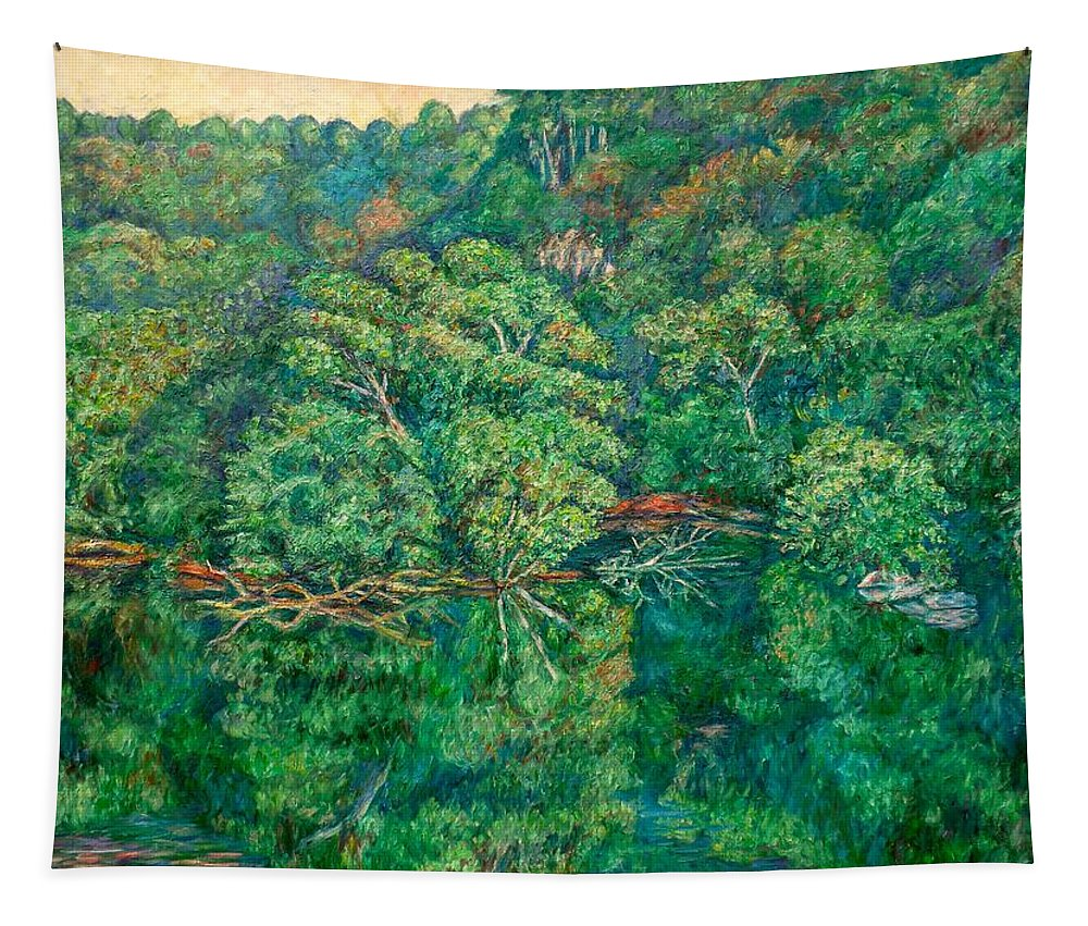 Landscape Tapestry featuring the painting James River Moment by Kendall Kessler