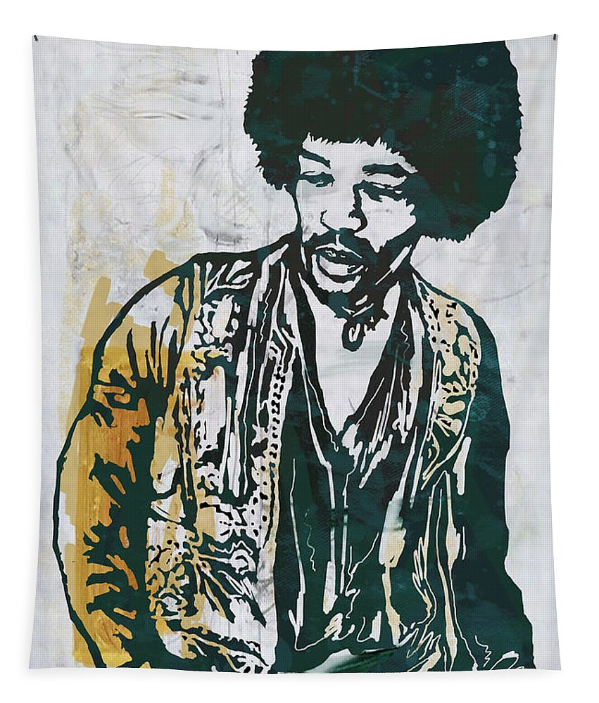Imi Hendrix Stylised Pop Art Drawing Potrait Poster. Portraits Tapestry featuring the mixed media Jimi Hendrix pop art poster by Kim Wang