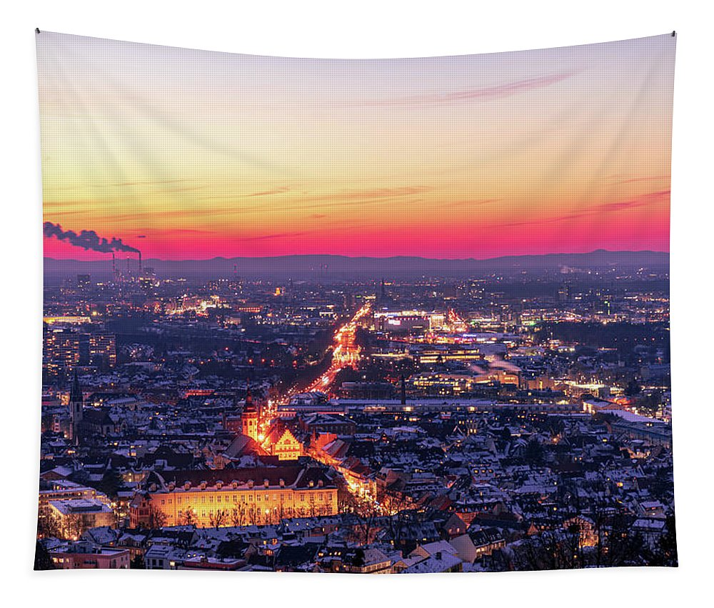 Karlsruhe Tapestry featuring the photograph Karlsruhe in winter at sunset by Hannes Roeckel