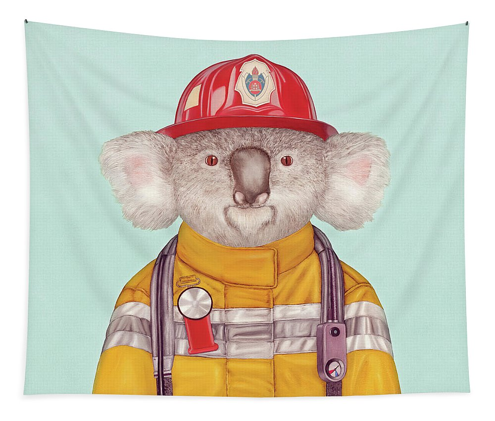 Tapestry featuring the painting Koala Firefighter by Animal Crew