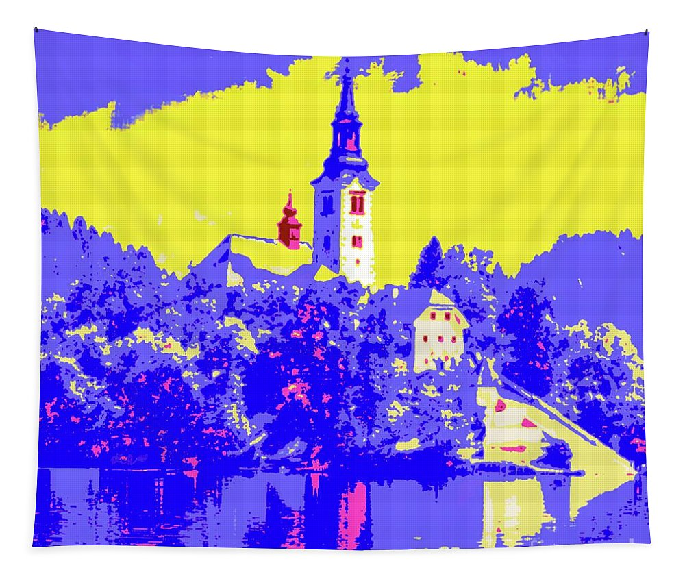 Lake Bled Tapestry featuring the painting Lake Bled by Jack Bunds