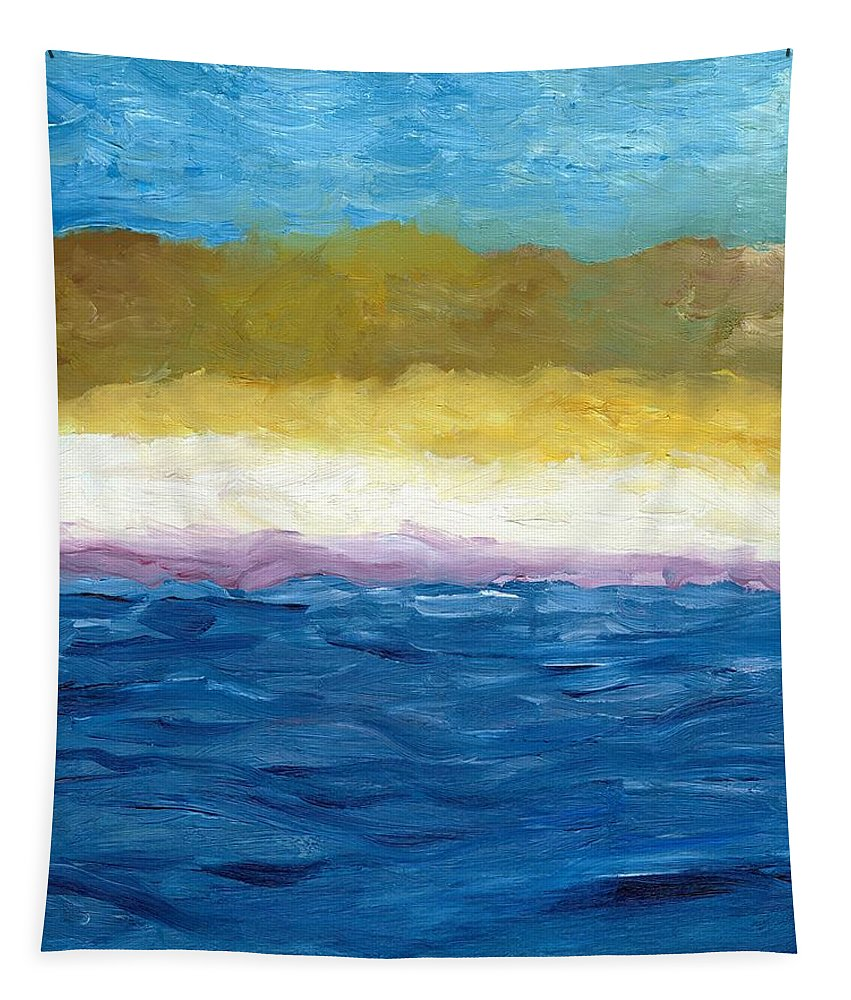 Abstract Landscape Tapestry featuring the painting Lake Michigan Dunes Study by Michelle Calkins