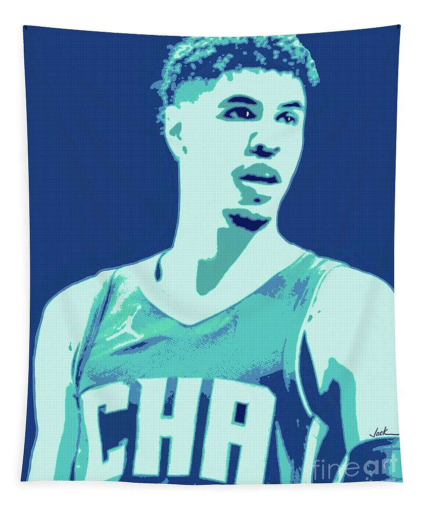 Lamelo Tapestry featuring the painting LaMelo Ball by Jack Bunds
