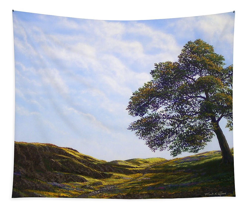 Landscape Tapestry featuring the painting Lava Rock And Flowers by Frank Wilson