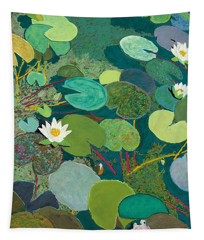Landscape Tapestry featuring the painting Lazy Pond by Allan P Friedlander
