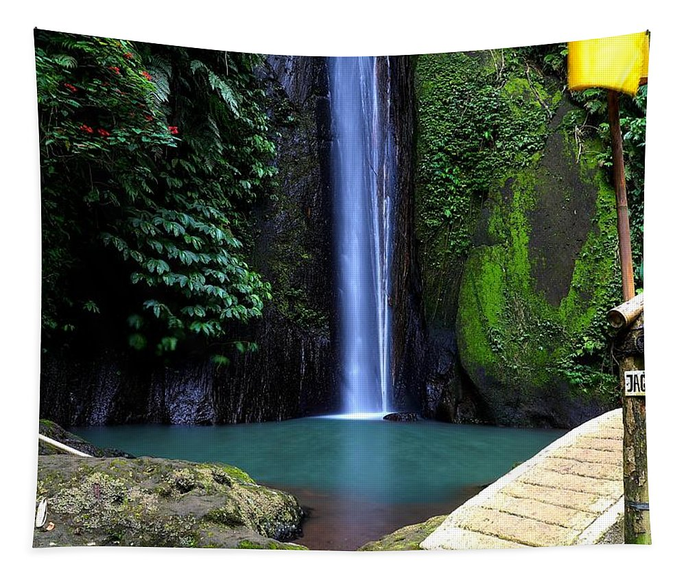Waterfall Tapestry featuring the digital art Lonely waterfall by Worldvibes1