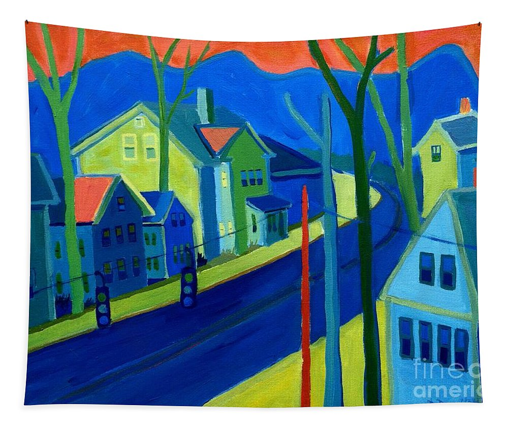 Cityscape Tapestry featuring the painting Lowell Deluge by Debra Bretton Robinson