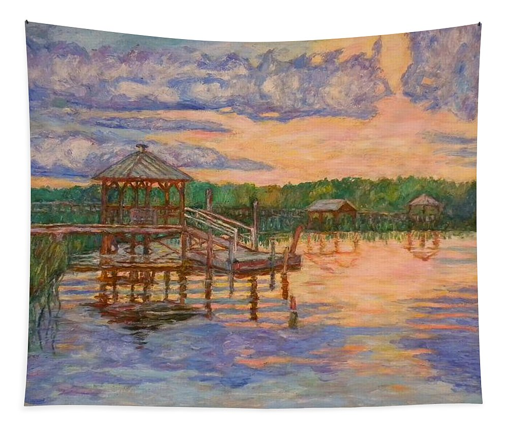 Landscape Tapestry featuring the painting Marsh View at Pawleys Island by Kendall Kessler