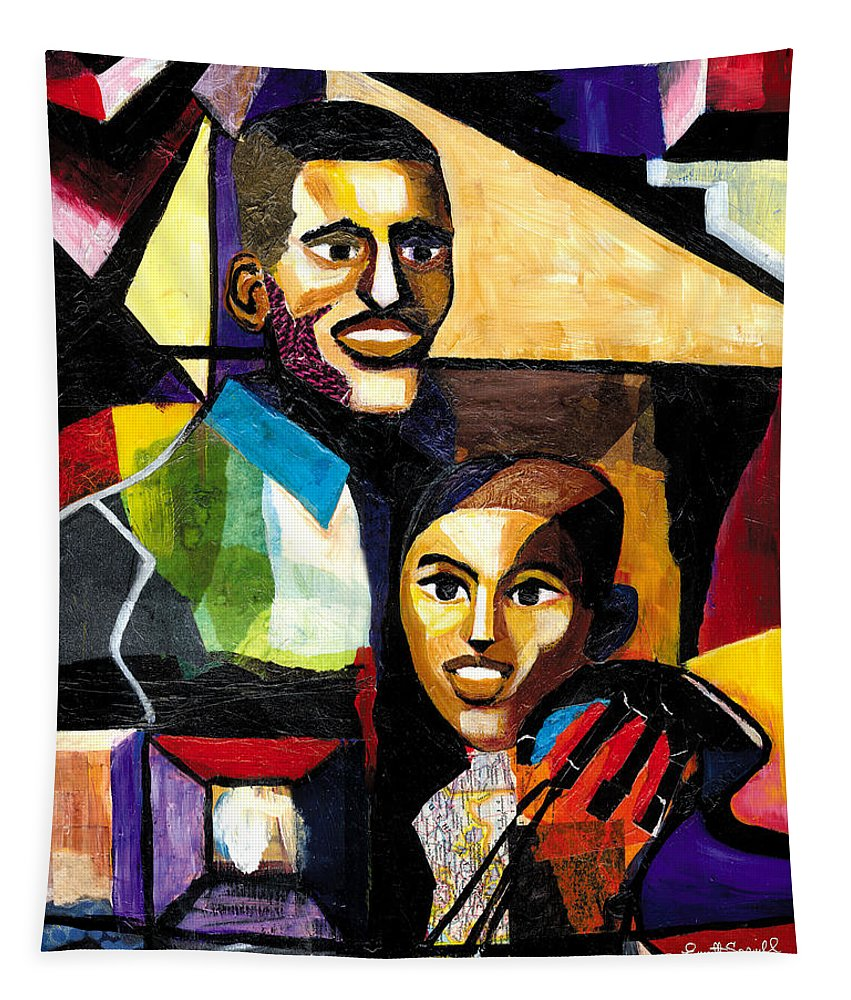 Everett Spruill Tapestry featuring the painting Me and Dad by Everett Spruill
