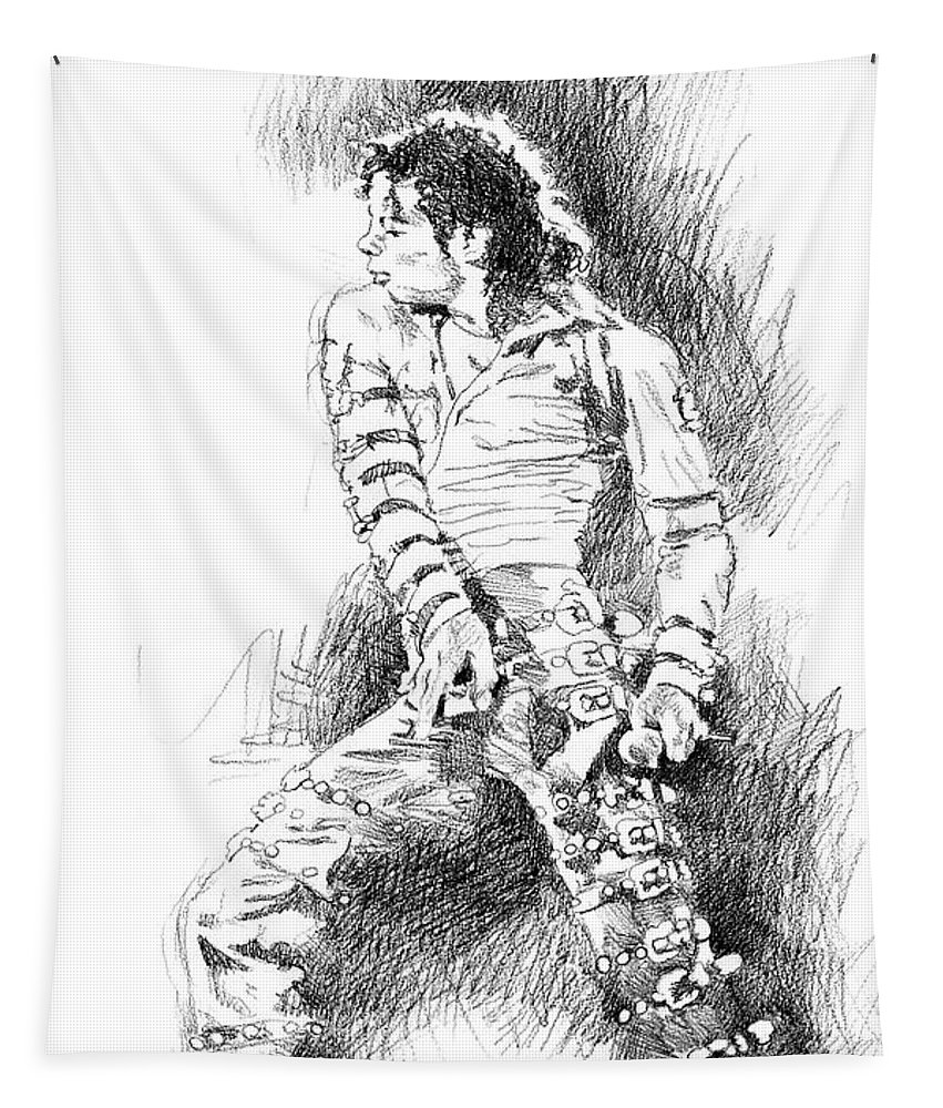 Michael Jackson Tapestry featuring the drawing Michael Jackson - Onstage by David Lloyd Glover