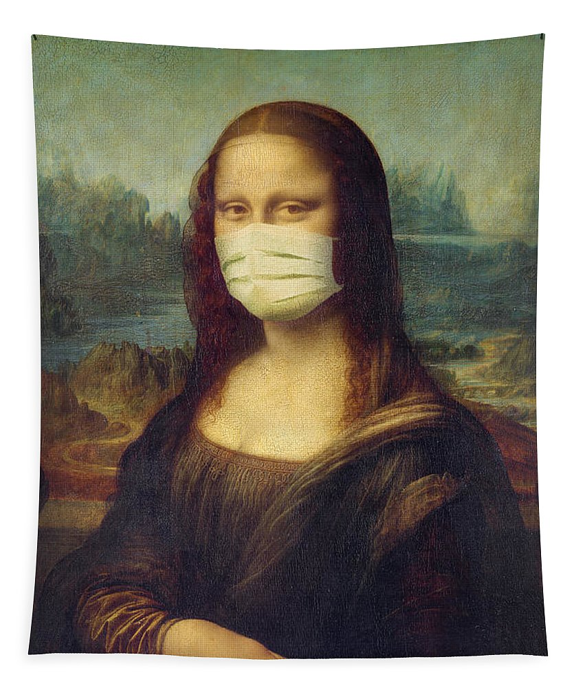 Mona Lisa Tapestry featuring the painting Mona Lisa wearing a mask by Delphimages Photo Creations