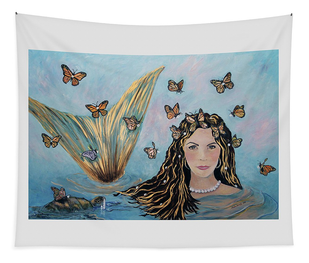 Mermaid Tapestry featuring the painting More Precious Than Gold by Linda Queally
