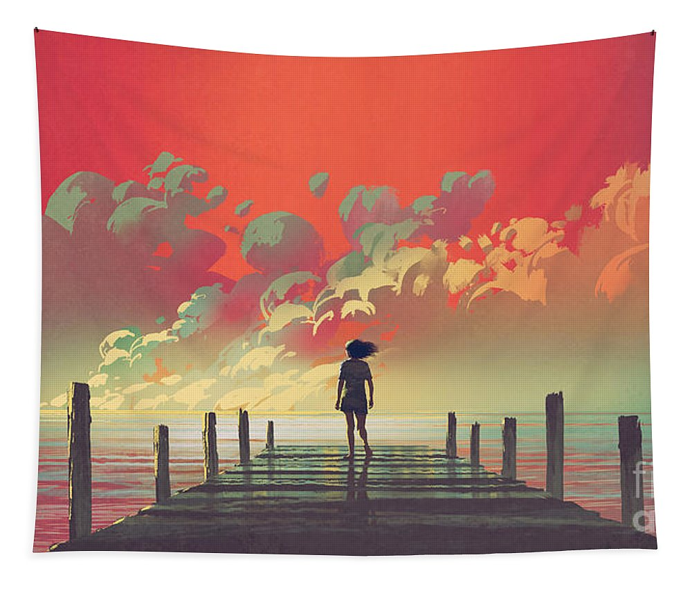 Illustration Tapestry featuring the painting My Dream Place by Tithi Luadthong
