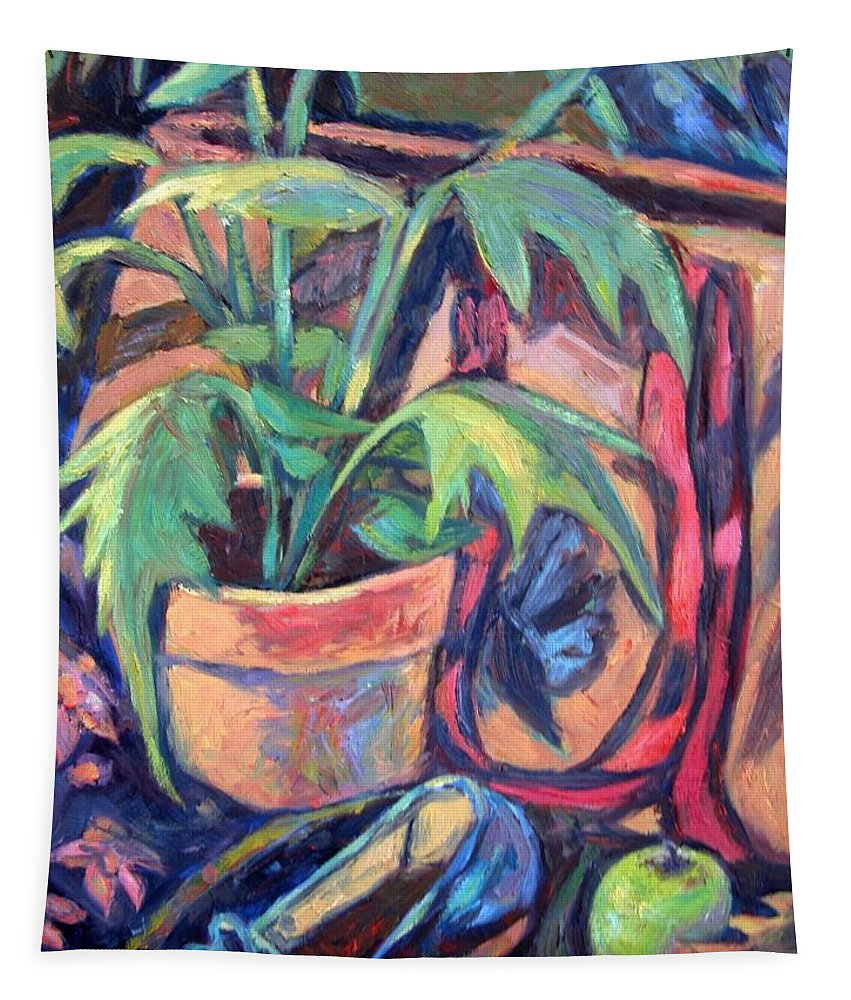 Plant Tapestry featuring the painting My Old Shoe by Kendall Kessler