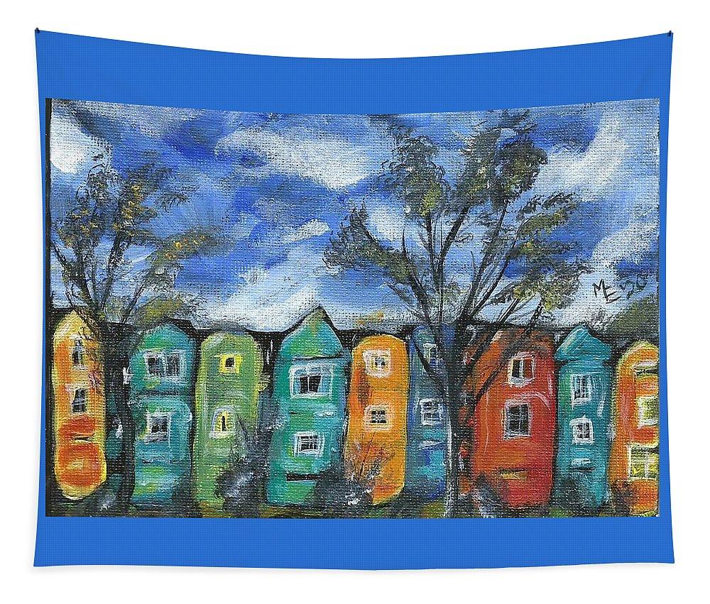 Neighborhood Painting Tapestry featuring the painting Neighborhood by Monica Resinger