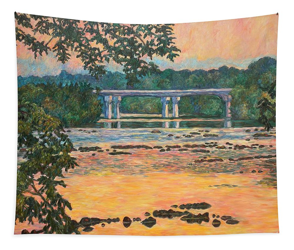 Landscape Tapestry featuring the painting New Memorial Bridge at Dusk by Kendall Kessler
