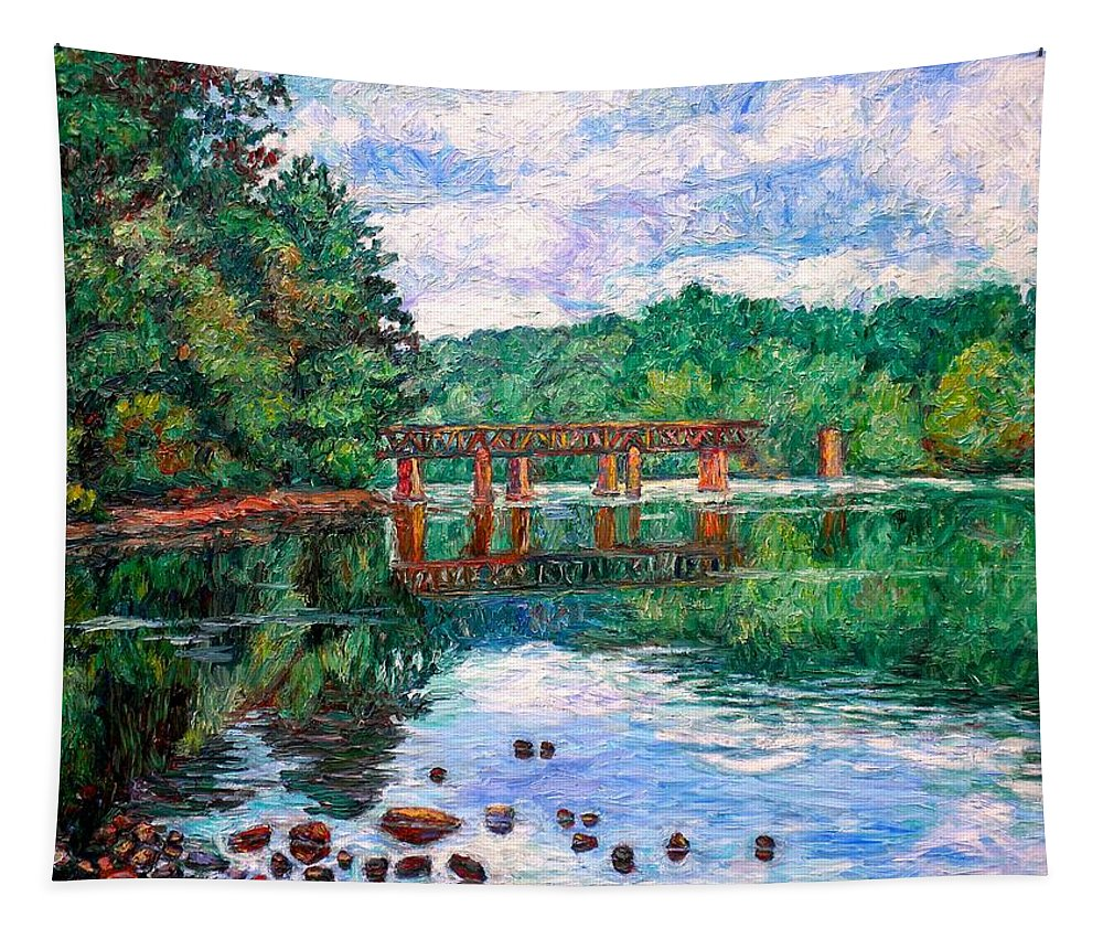 Landscape Tapestry featuring the painting New River Trestle by Kendall Kessler