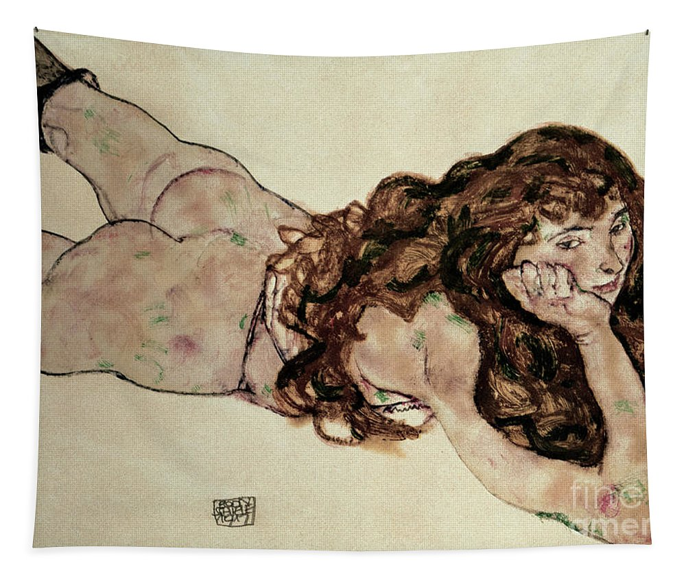 Egon Schiele Tapestry featuring the painting Nude lying on her belly by Schiele by Egon Schiele