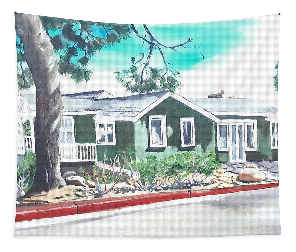 Landscape Tapestry featuring the painting Ocean Front House by Andrew Johnson