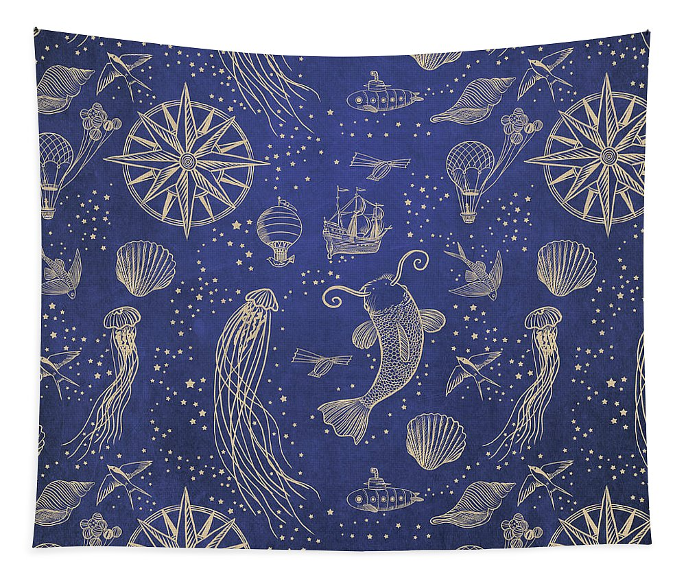 Gold Tapestry featuring the drawing Ocean Meets Sky - Hardcase by Eric Fan