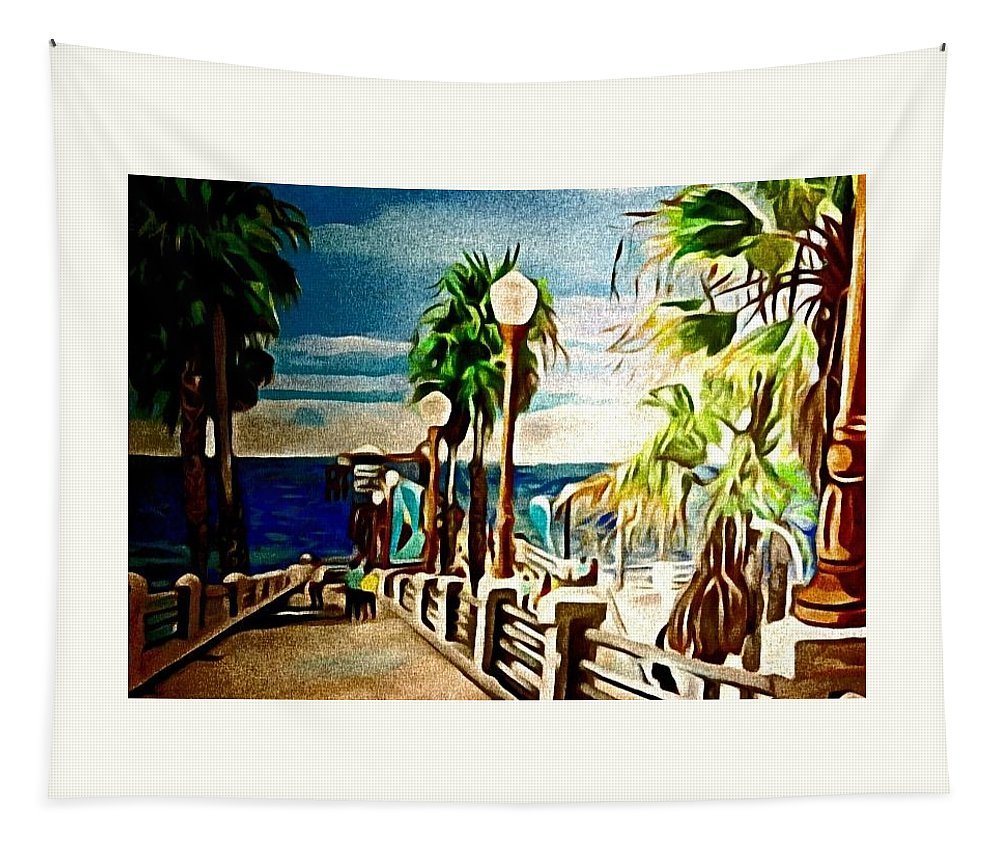 Landscape Tapestry featuring the painting Oceanside Peir by Andrew Johnson