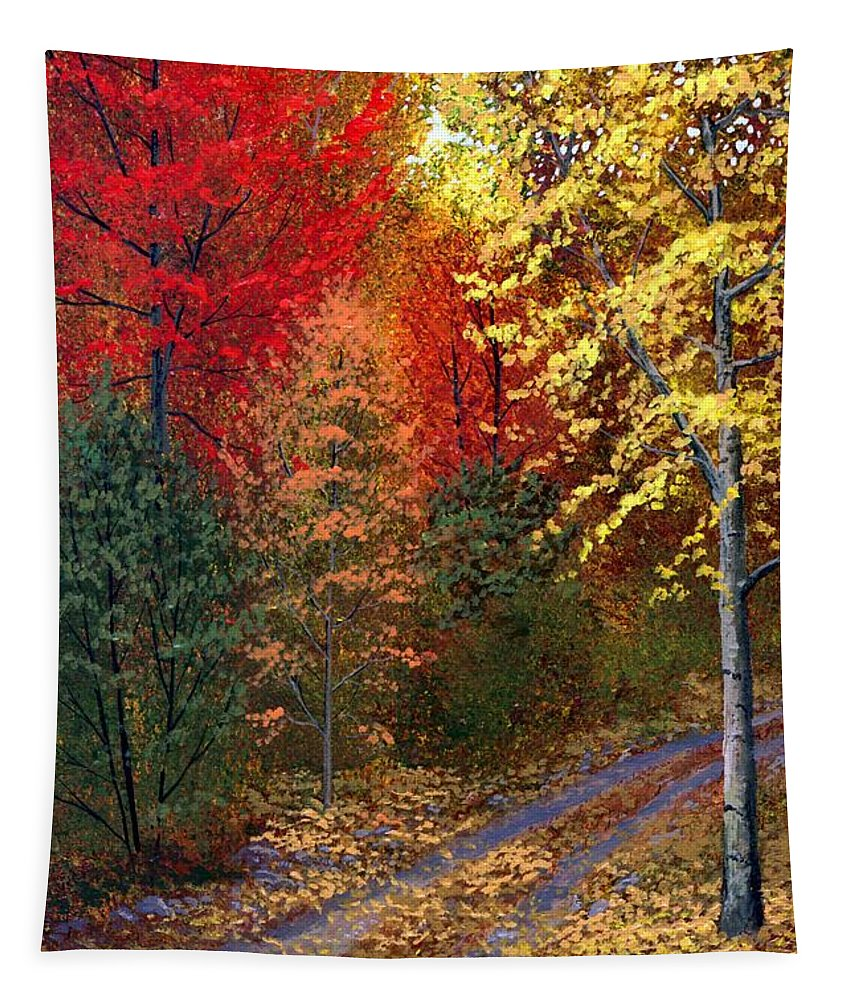 Landscape Tapestry featuring the painting October Road by Frank Wilson