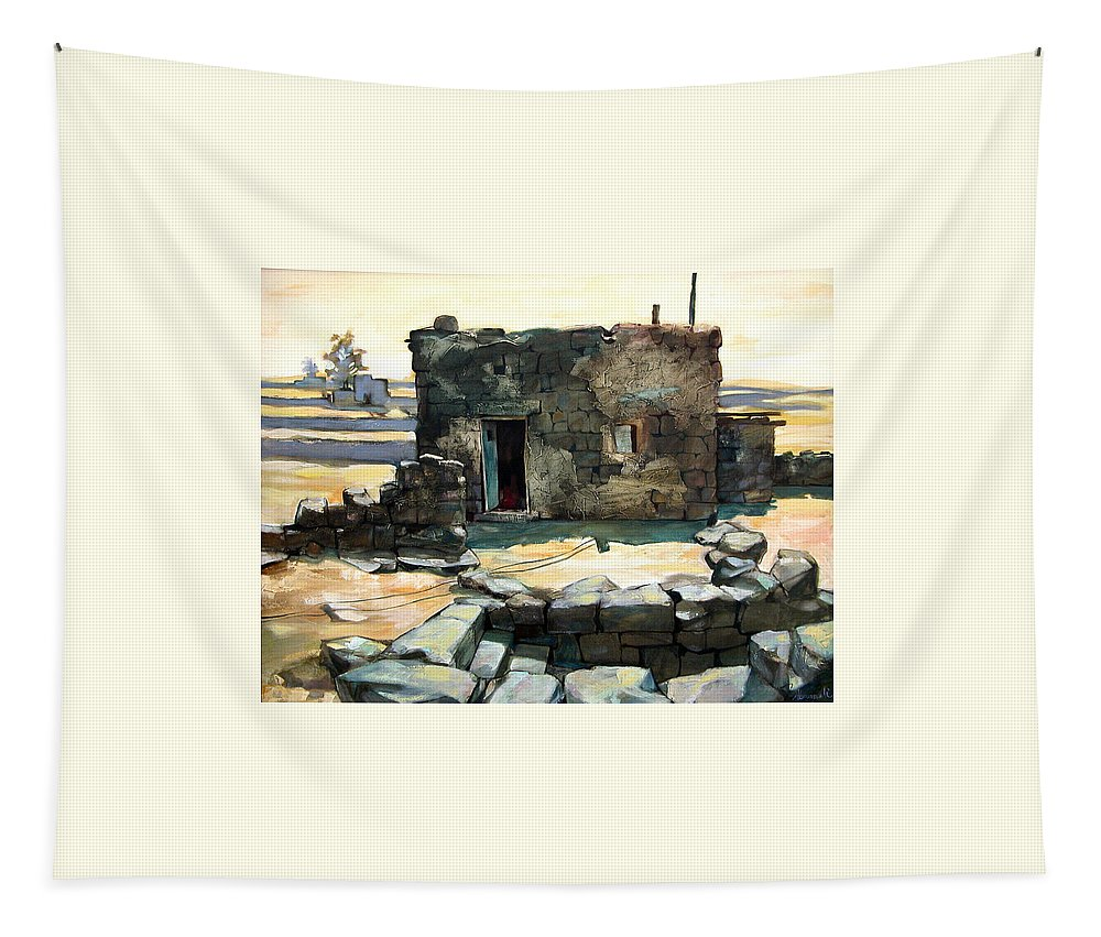 Mpressionist Tapestry featuring the painting Old House II by Farhan Abouassali