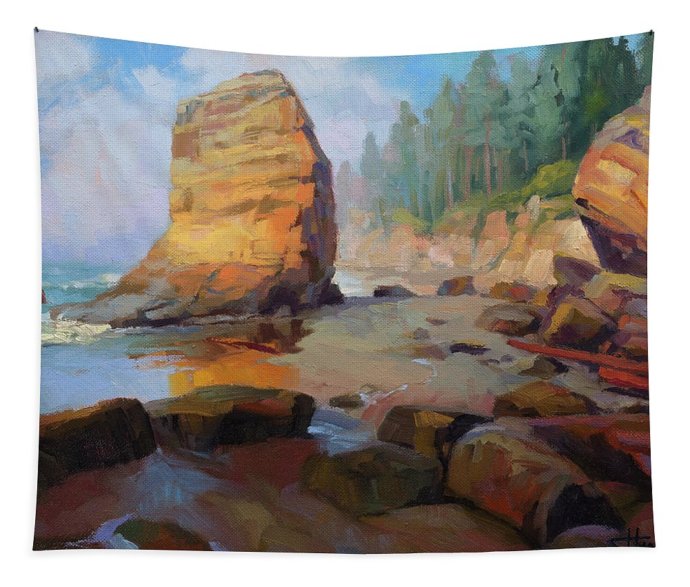 Coast Tapestry featuring the painting Otter Rock Beach by Steve Henderson