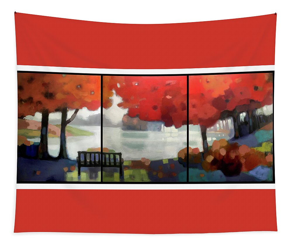 Landscape Tapestry featuring the painting Peaceful Fall by Farhan Abouassali