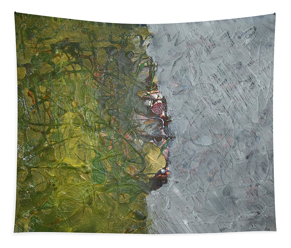 Green Tapestry featuring the painting Perspectives by Pam Roth O'Mara