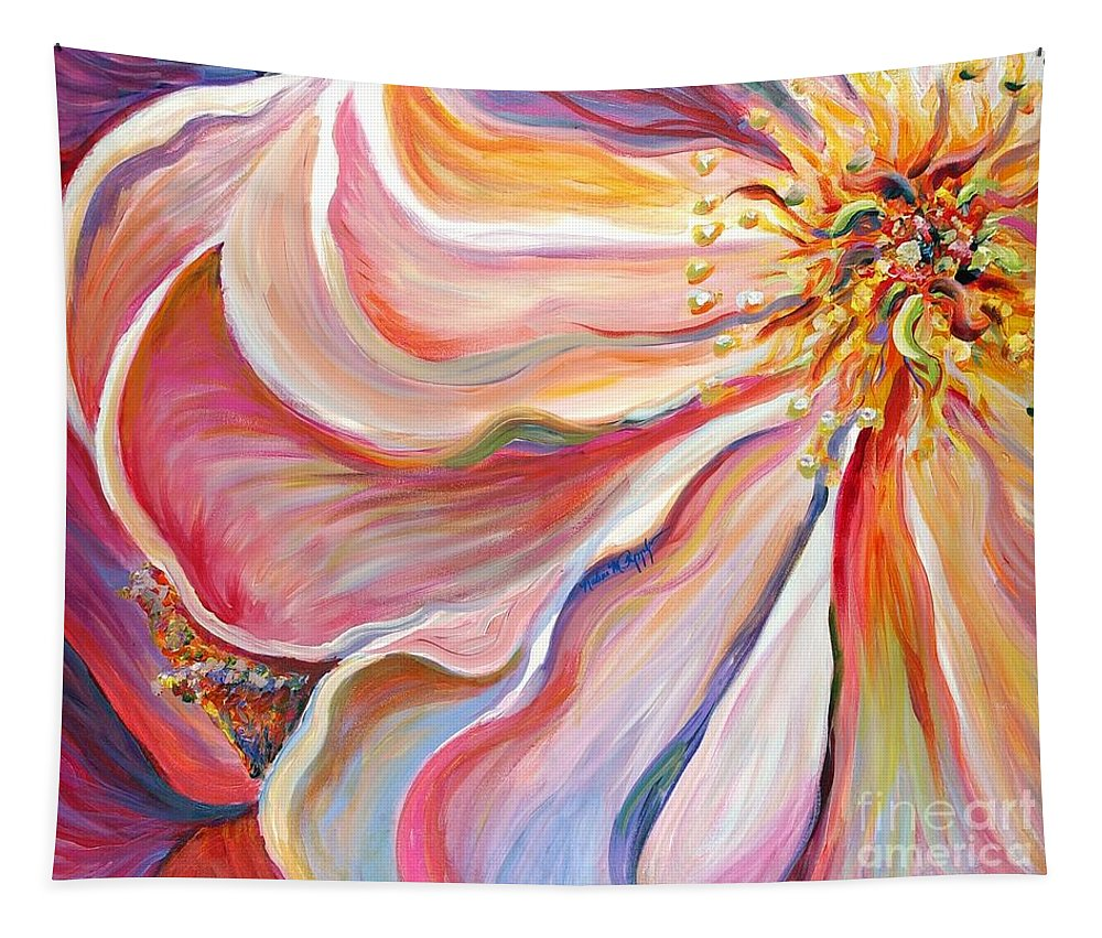 Pink Poppy Tapestry featuring the painting Pink Poppy by Nadine Rippelmeyer