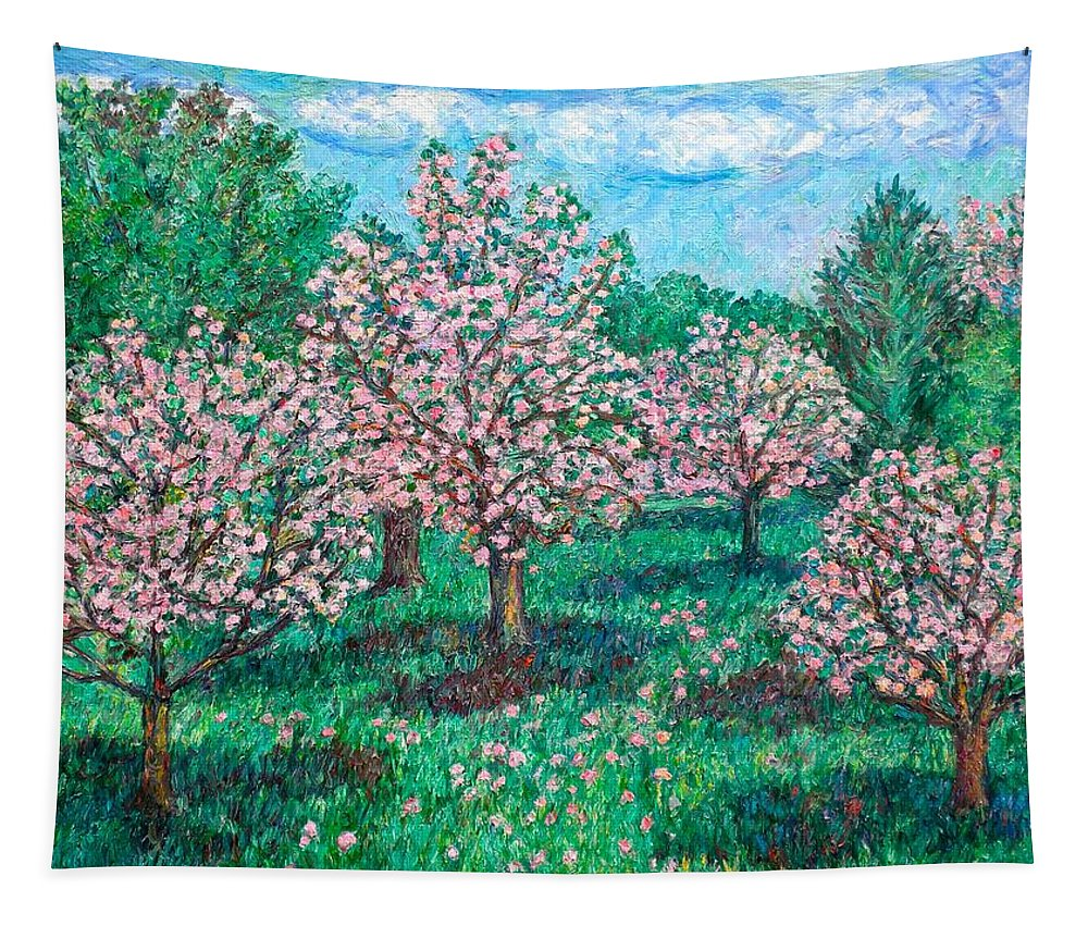 Landscape Tapestry featuring the painting Pink Wave by Kendall Kessler