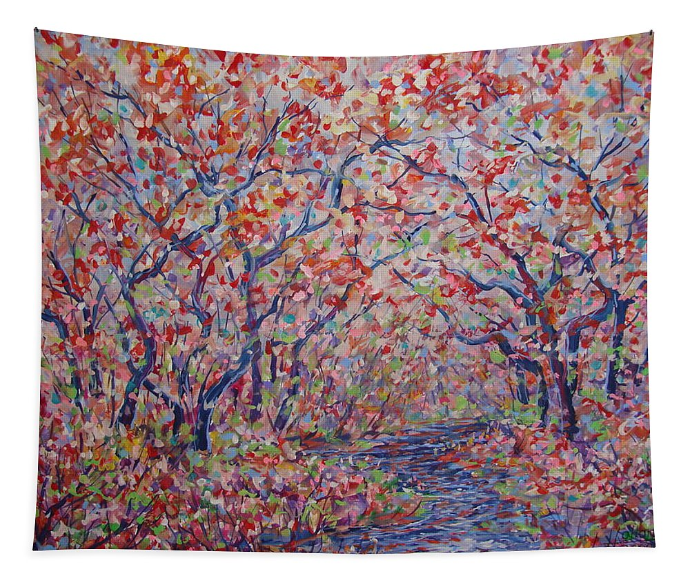 Landscape Tapestry featuring the painting Poetic Forest. by Leonard Holland