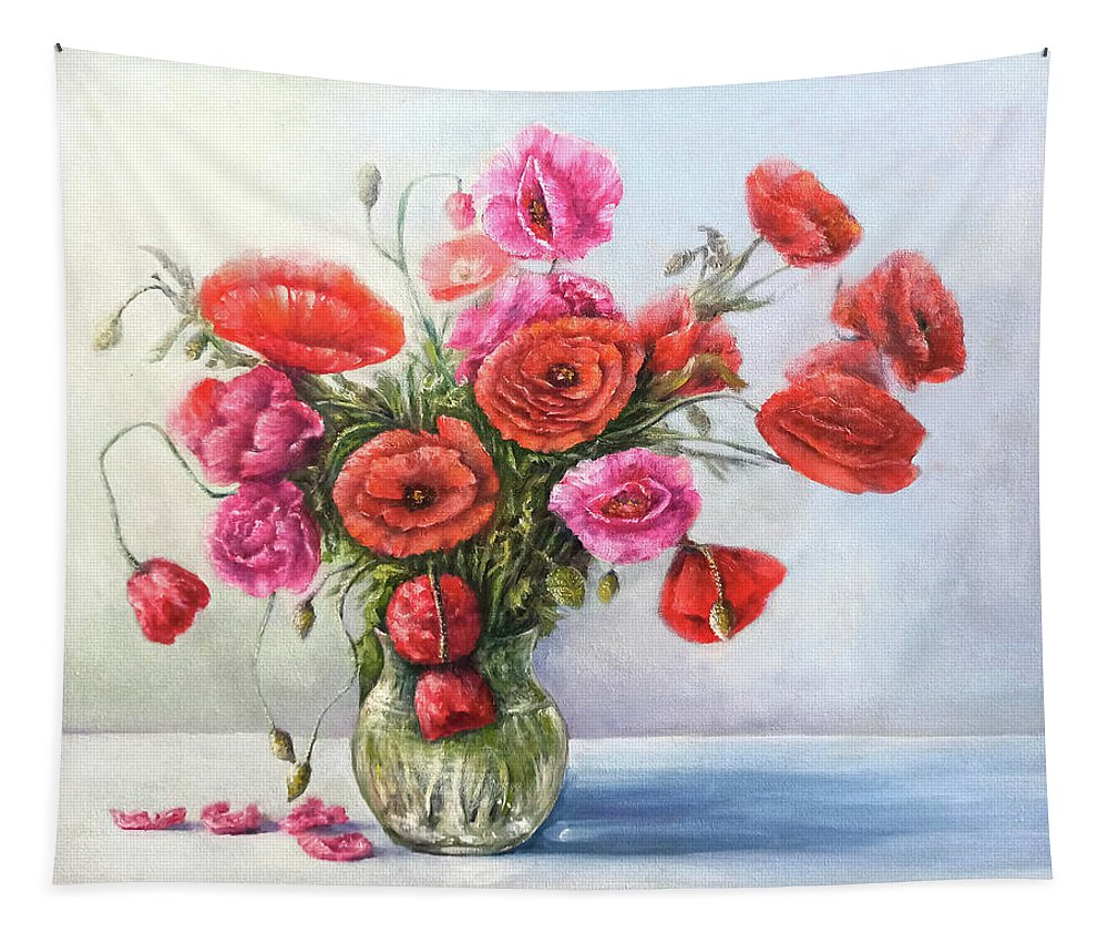 Poppy Tapestry featuring the painting Poppy flowers by Natalja Picugina